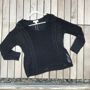 BAND OF GYPSIES Black Knit Long Sleeve Sweater